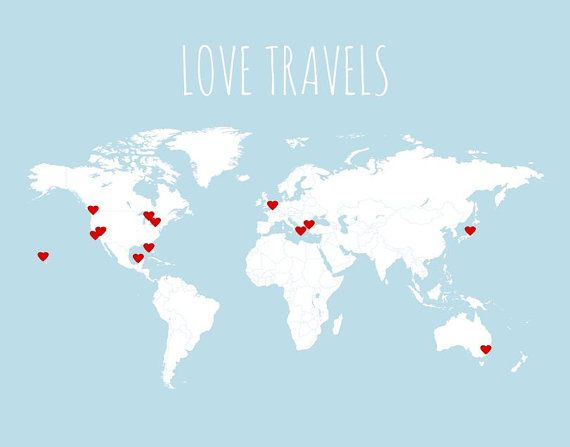 One day gonna print something like this make different stickers to love travels world map kit includes blank map poster in grey or light blue and 50 mini red heart stickers custom title and colors available gumiabroncs Image collections