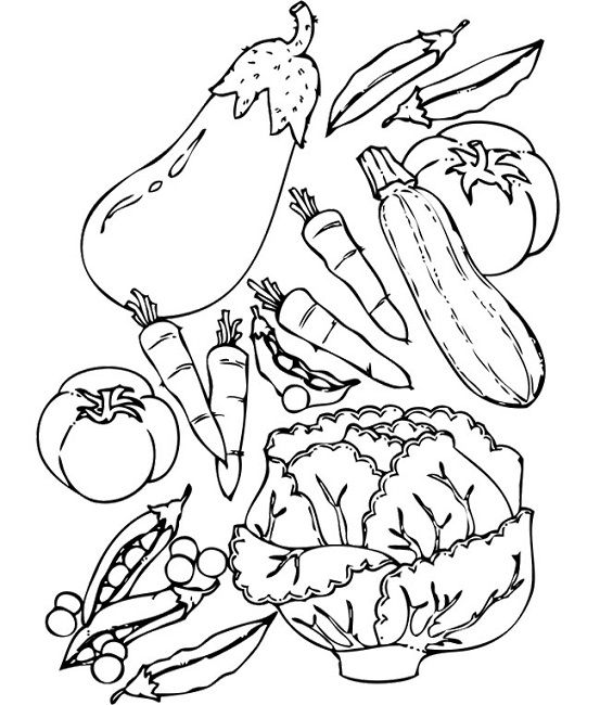 Vegetable coloring book pages
