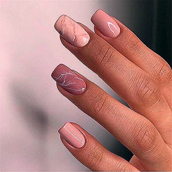 simple and cute nautral acrylic coffin nails design