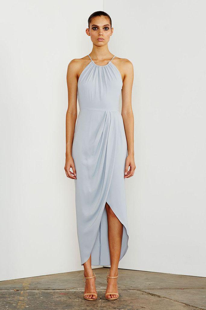 b578ff81c62a9 CORE HIGH NECK RUCHED DRESS - POWDER BLUE. Shona Joy Cocktail Draped ...