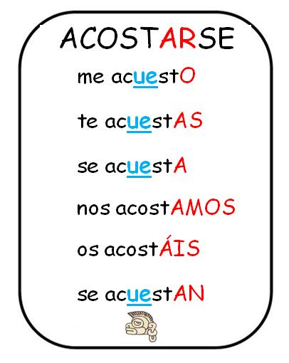 Verbo Acostarse O Ue Espanol Learning Spanish Spanish