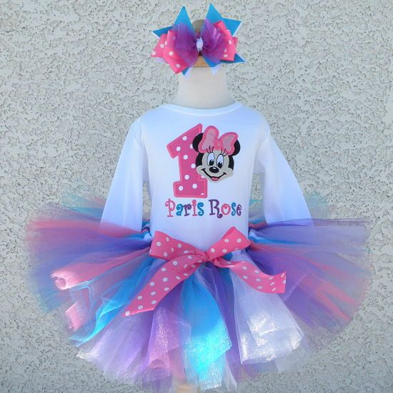MINNIE MOUSE **With NAME** 5th fifth 5 Birthday purple Tutu dress Fast Shipping
