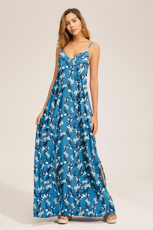 V Neck Printed Spaghetti Strap Boho Long Maxi Summer Beach Dress Lightseagreen Kleider Rotes Sommerkleid Sommer Strandkleider [ 1500 x 1000 Pixel ]