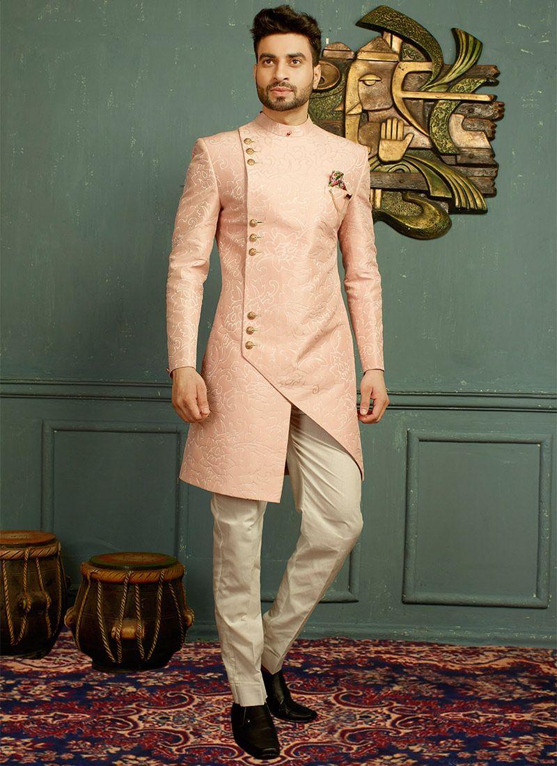 ac0508a178 Buy Baby Pink Jacquard Angrakha Sherwani online, SKU Code: SHMAR6072. This  Pink color angrakha sherwani for Men comes with Jacquard Art Silk. Shop Now!