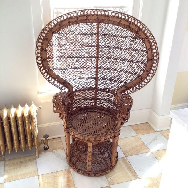 peacock fan rattan chair for sale on chairish - unusual ...