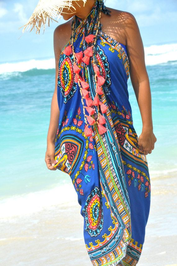 69fe2917dd Beach Sarongs Scarves Shawl fringes Boho  Beach cover up pareo sarong wrap Swimsuit  cover up   GUADA