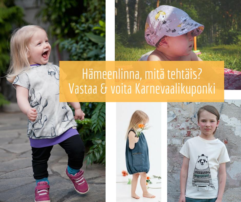 Kauneve, Kikapi, Tuuni & Loru ja OTUS: Lastenvaatekarnevaali goes Hippalot -Facebook- tapahtumassa on käynnissä arvonta 24.6.16 saakka.