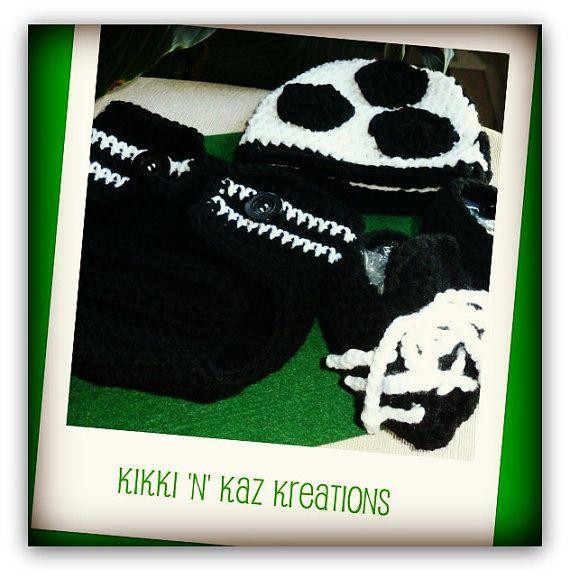 Baby's Crocheted Soccer  Beanie Diaper Cover by KikkinKazKreations