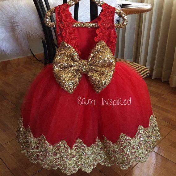 9c090e783c50e Princess dress , red and gold dress , little red dress , baby dress ...