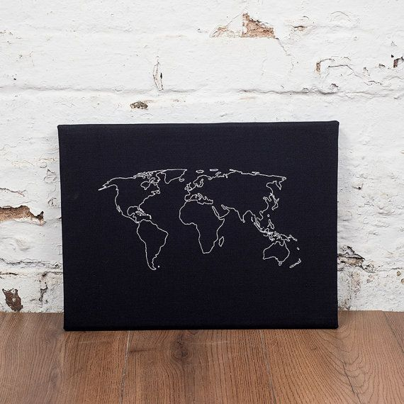 World map notice board cork world map world map pin board a frameless cork pin board with the outline of the map of the world embroidered gumiabroncs Image collections