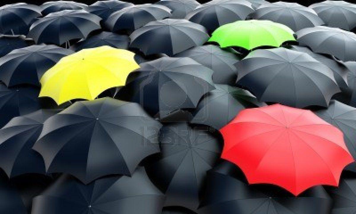 Three colorful umbrellas