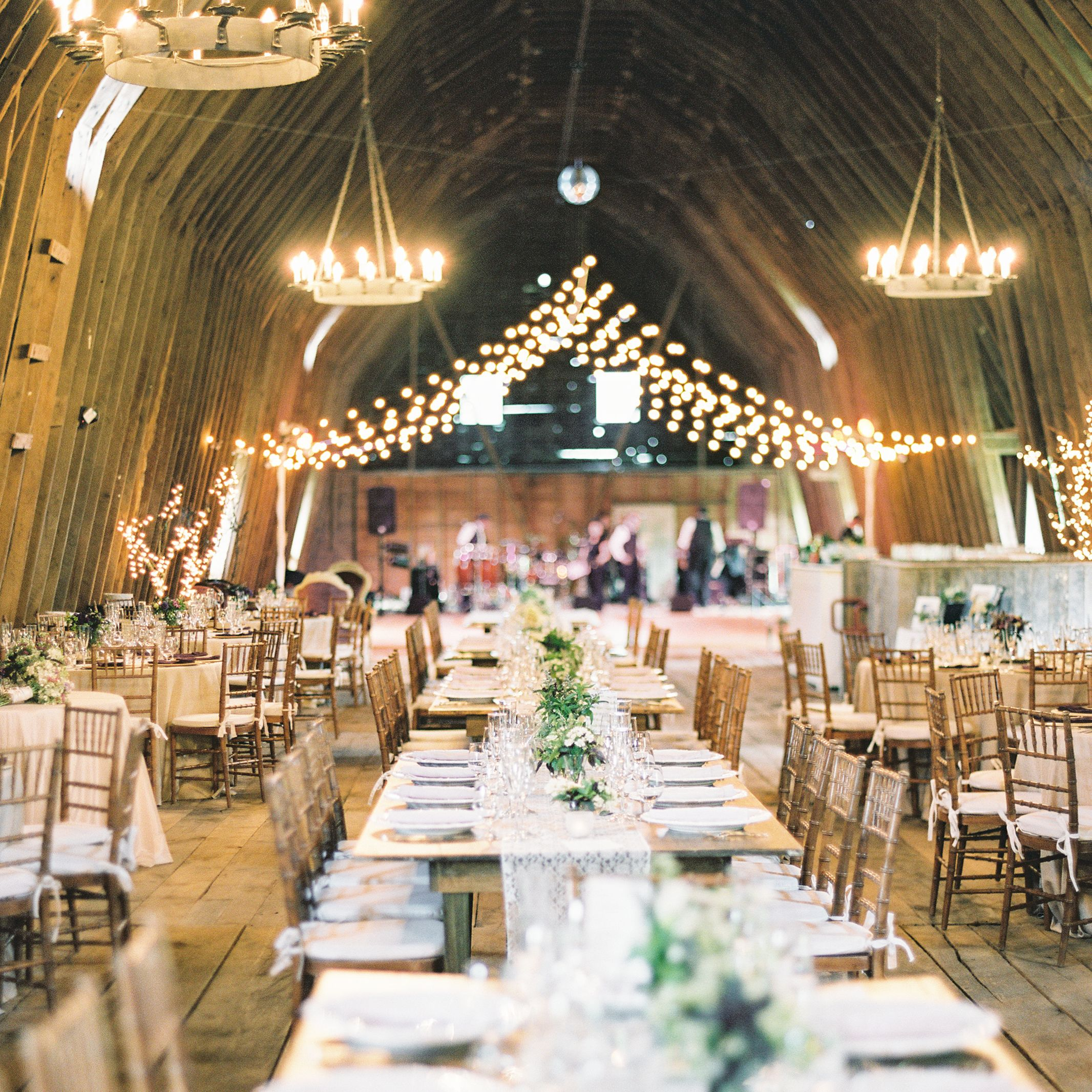 String Lights And Chandeliers At Inn At Mount Vernon Farm Reception