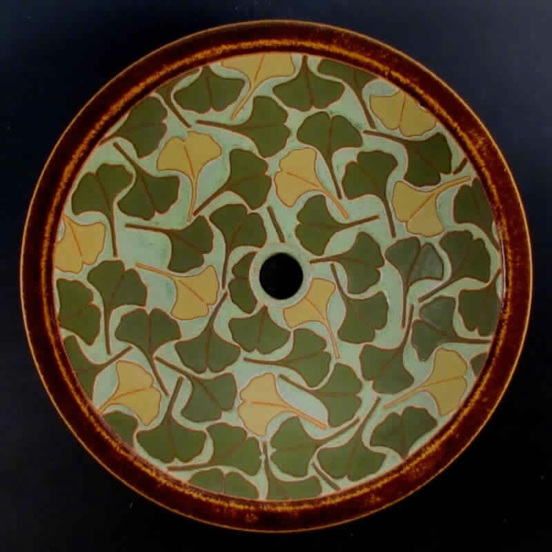 Common Ground Pottery - Eric Olson - Sink - Ginkgos - Arts  Crafts - Bungalow