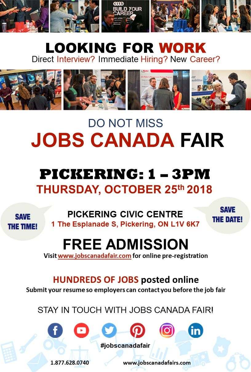 Pickeringjobfair Is Live Today Hurry Do Not Miss 1 3pm
