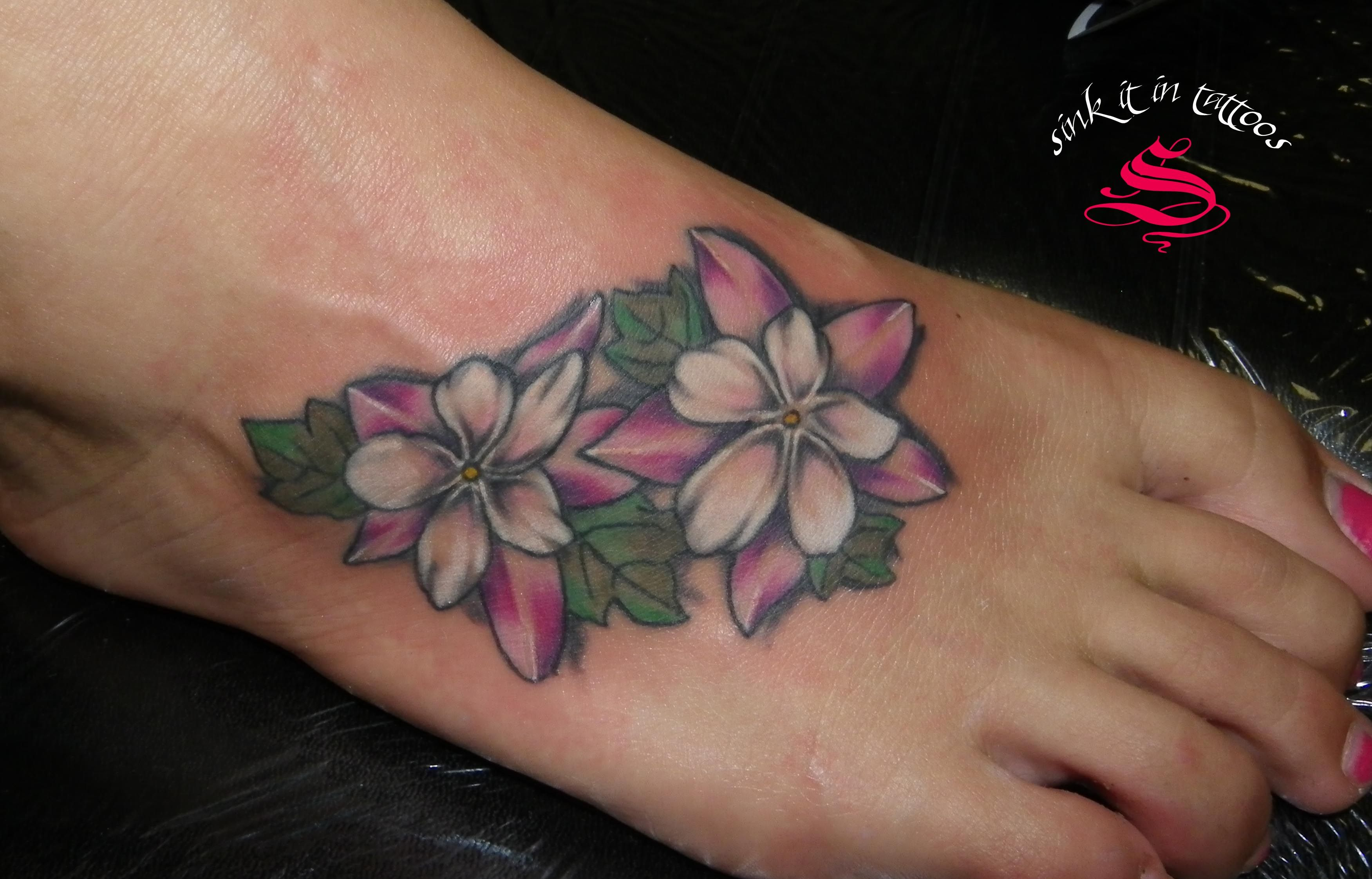 Hibiscus Tattoo On Foot Pin Purple Hibiscus Flower Foot Tattoo
