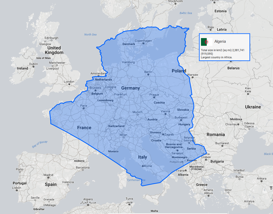 The true size of Algeria in comparison to Europe [1091x961 ...