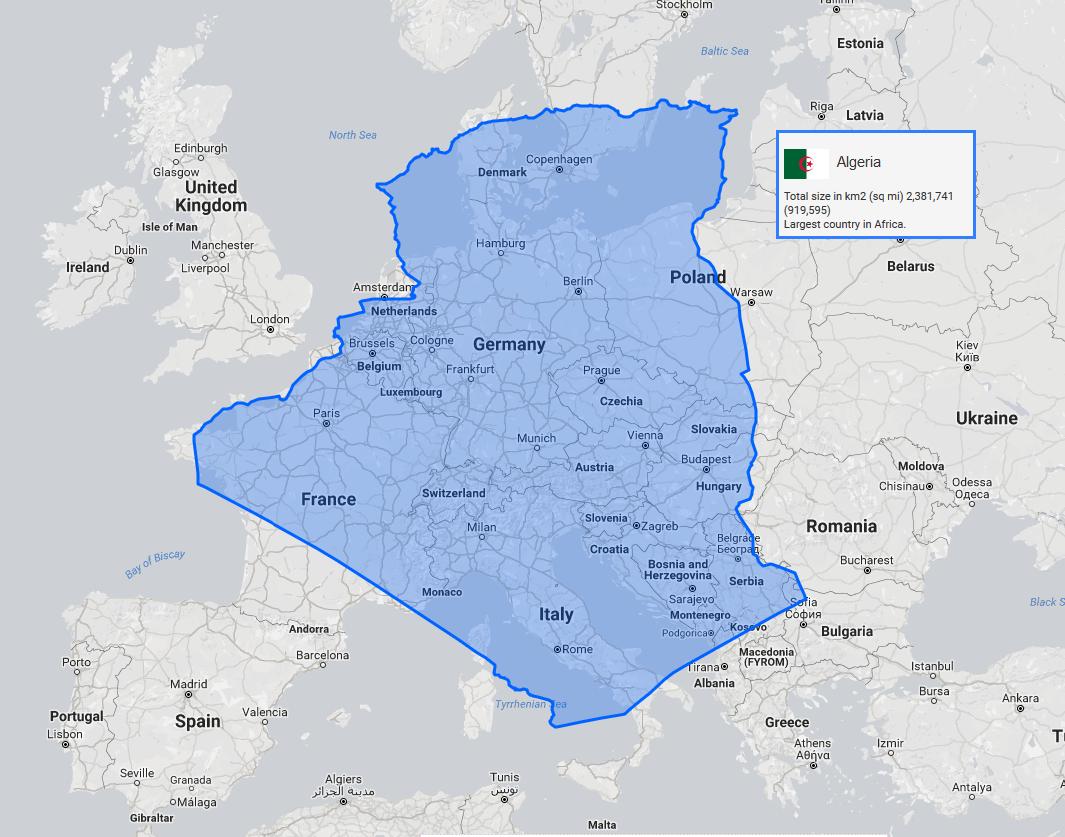 The True Size Of Algeria In Comparison To Europe 1091x961 Maps