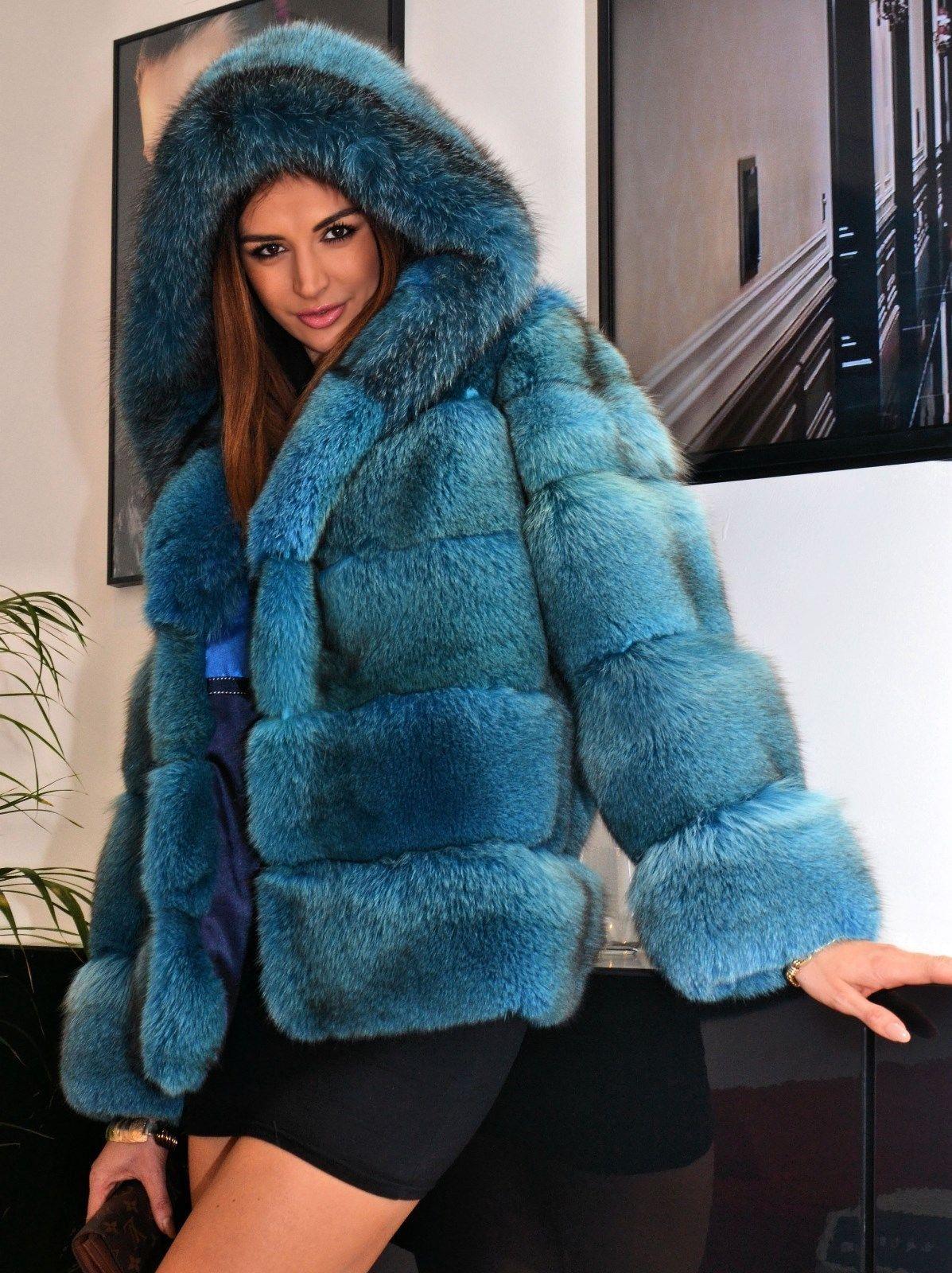 Ocean Blue Royal Saga Fox Fur Jacket Like Coat Silver Sable Mink Chinchilla Lynx   eBay