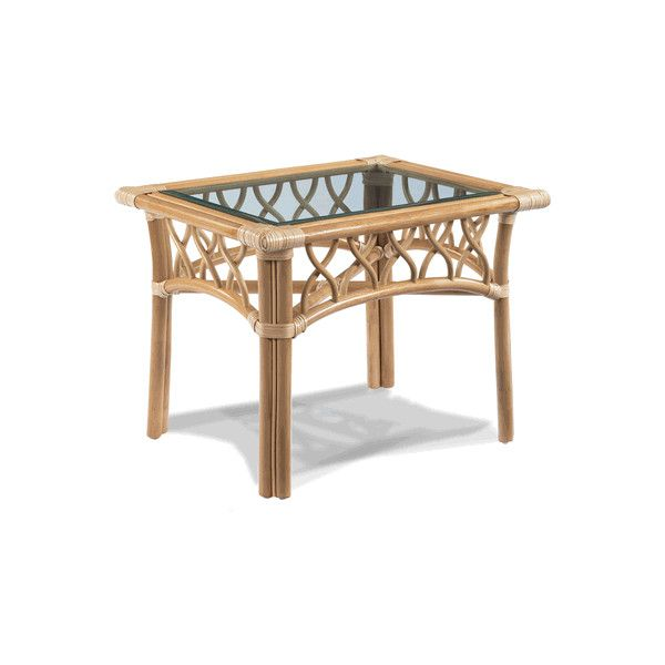 St. Thomas Rattan End Table With Glass Top   St. Thomas Rattan Set Of