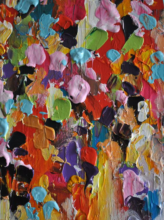 Abstract Painting on Panel Original Painting Rainbow Rain Heavy ...