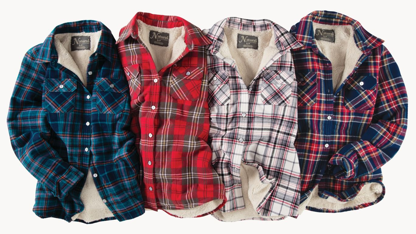 Casual flannel outfits  Natural Reflections Flannel Shirt Jacket for Ladies  Cream Plaid