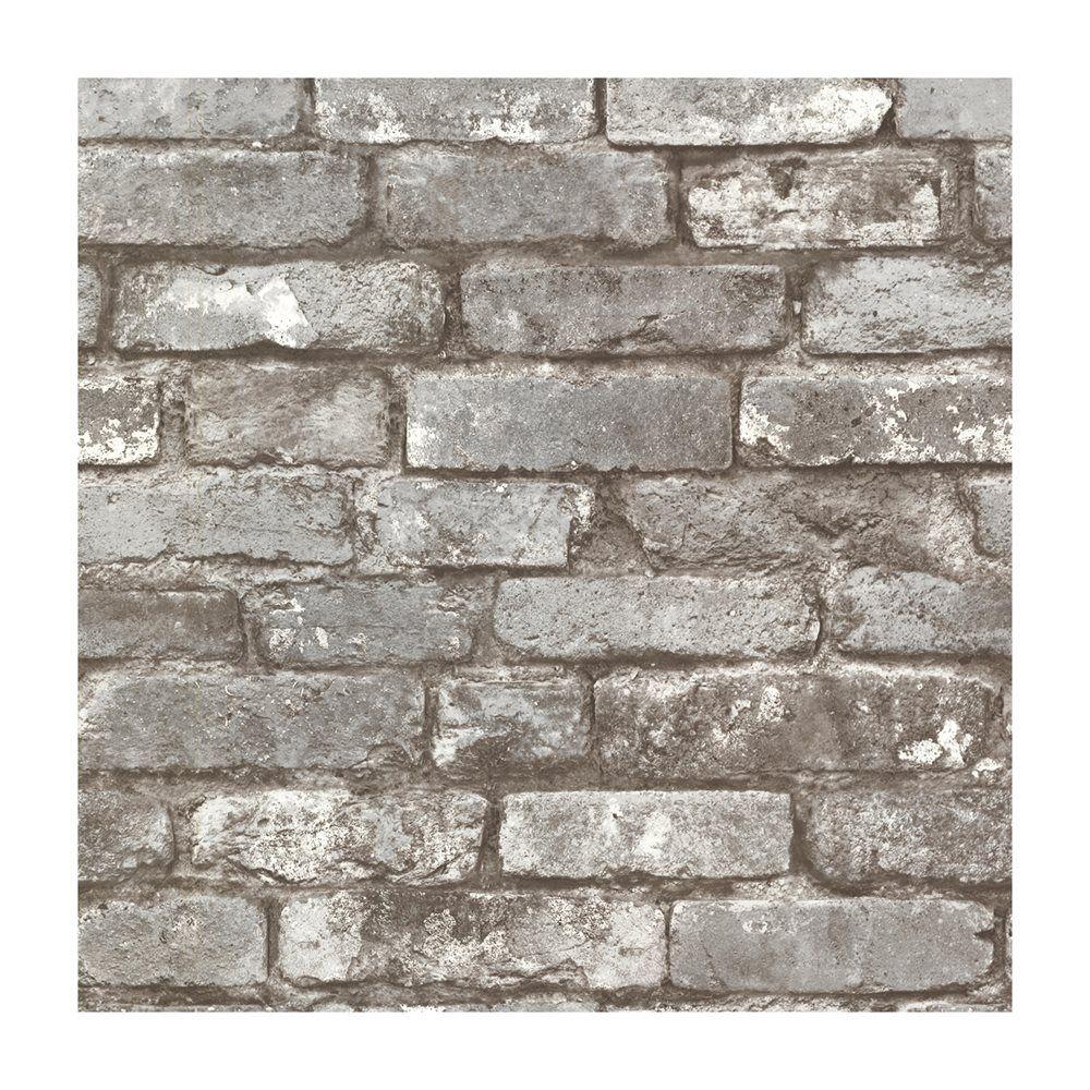 Provincial Wallcoverings 2604 21259 Brickwork Pewter Exposed Brick Texture Wallpaper