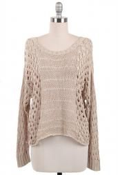 Just Friends Slouchy Open Knit Sweater in Beige