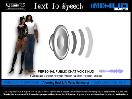 Gaagii - Text to Speech HUD (female voice) | Second Life Shopping