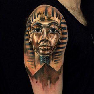 54 Amazing 3D Egyptian King Tut mask tattoo | Tatuaże | Pinterest ...