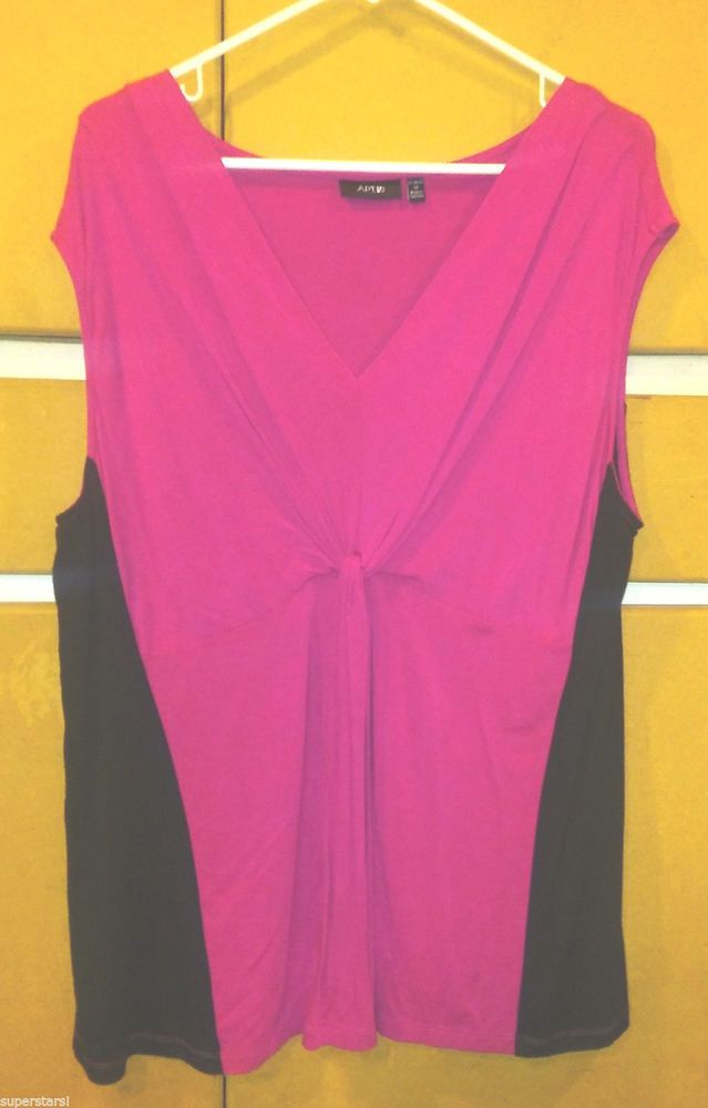 APT 9 - Pink & Black Women's Blouse Top Size 1X #BasicEditions #Blouse