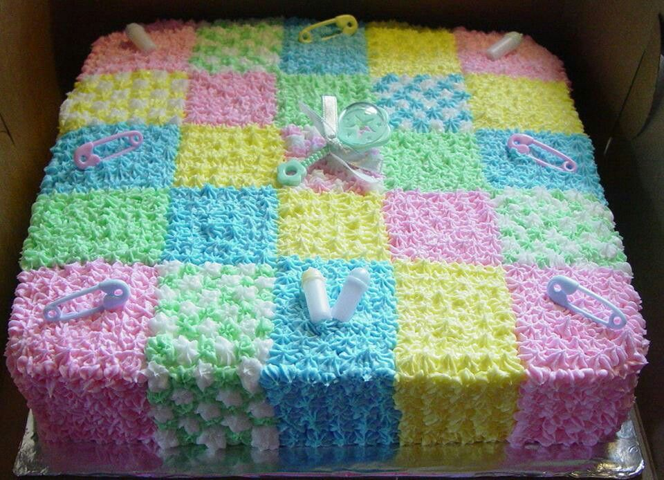 Buttercream icing quilt baby shower cake Baby shower