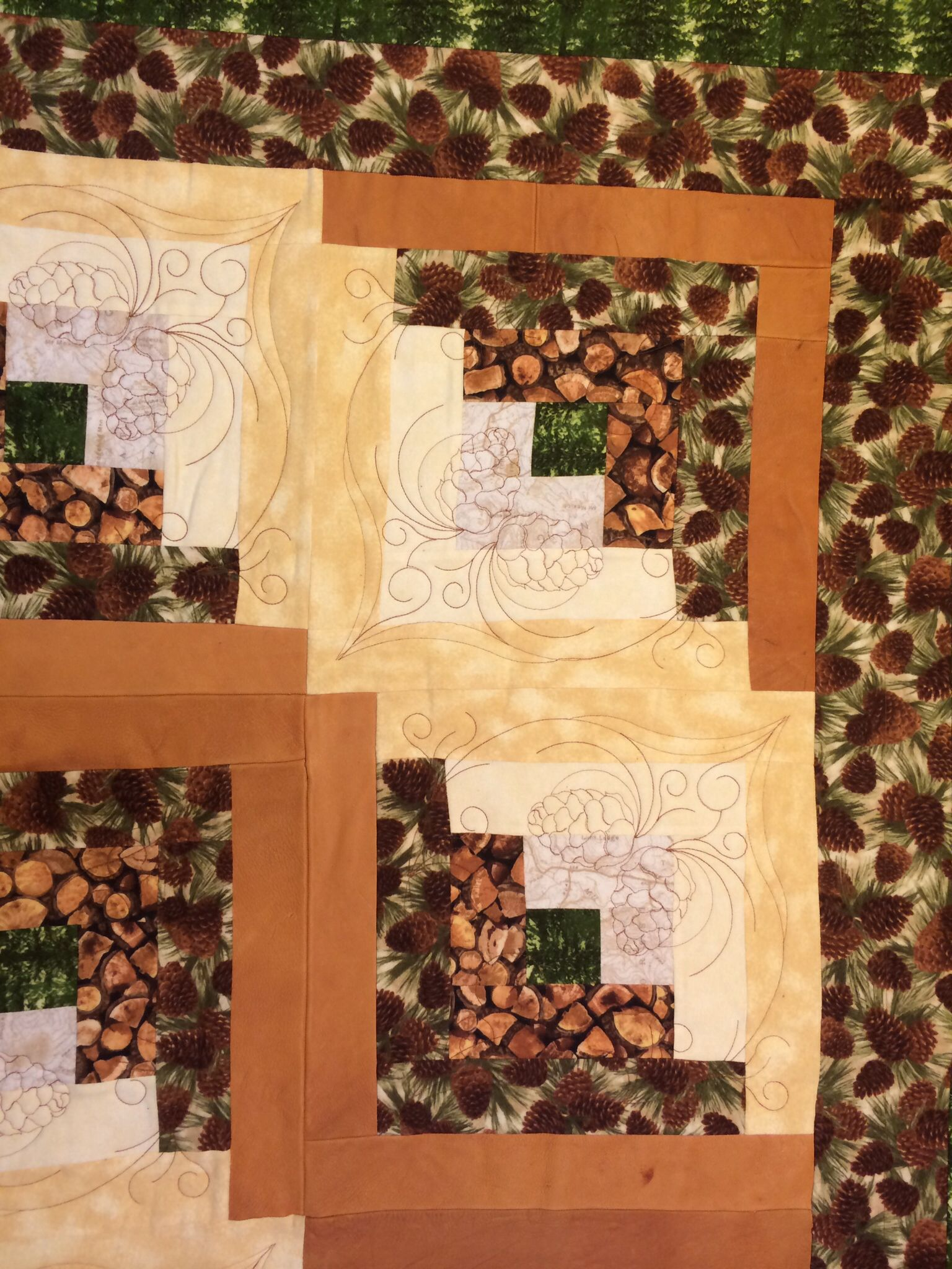 Quilt - Log Cabin with leather strips