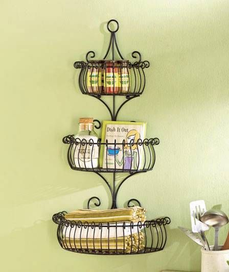 3 Tier Scroll Wall Basket Pocket Decorative Storage Elegant Planter Hoem Decor Baskets On Wall Decorative Storage Metal Wall Planters