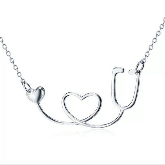 Stethoscope Necklace Made of 925 Sterling Silver. This