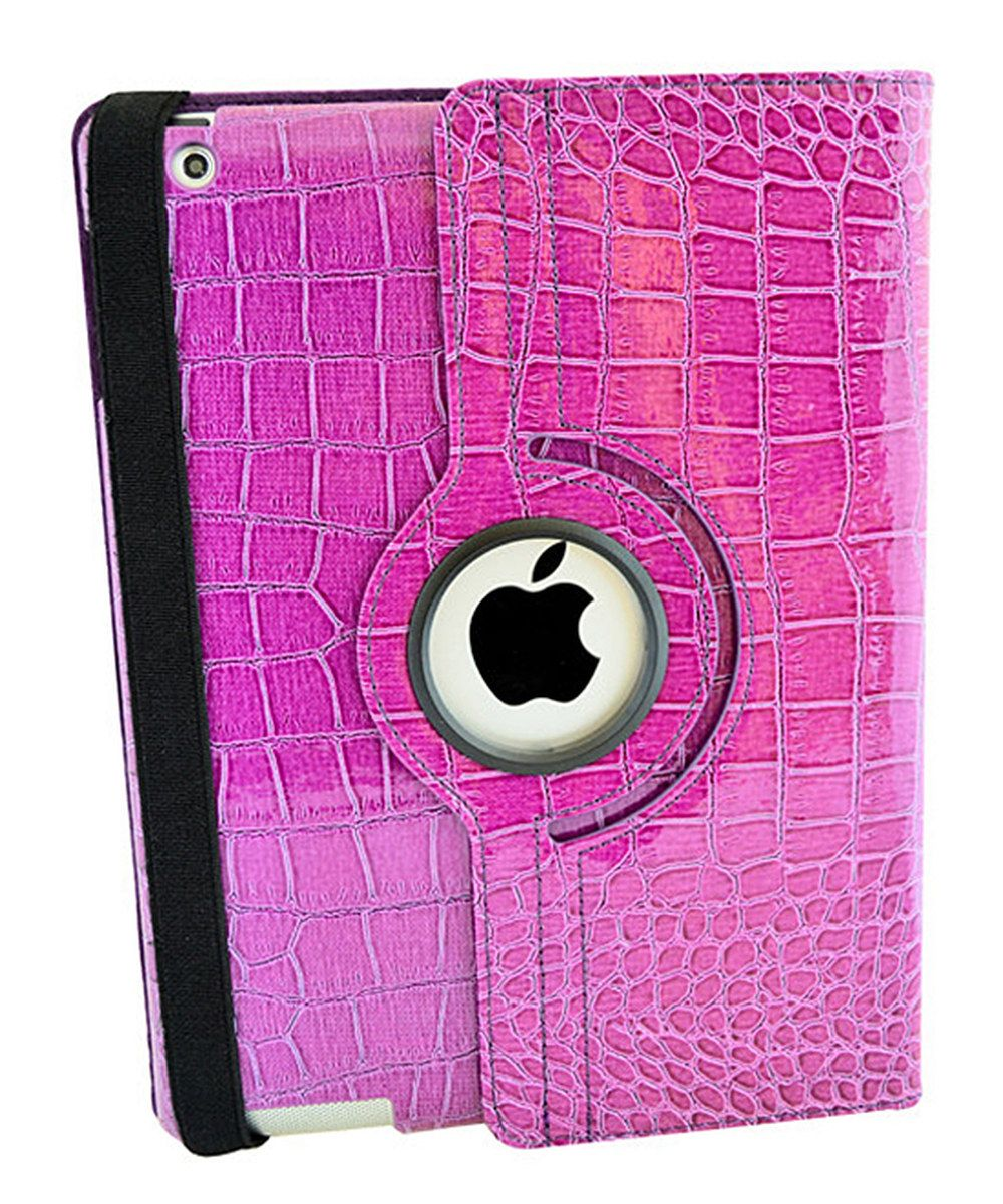 Look at this Pink Crocodile Faux Leather Rotating Case for iPad on #zulily today!