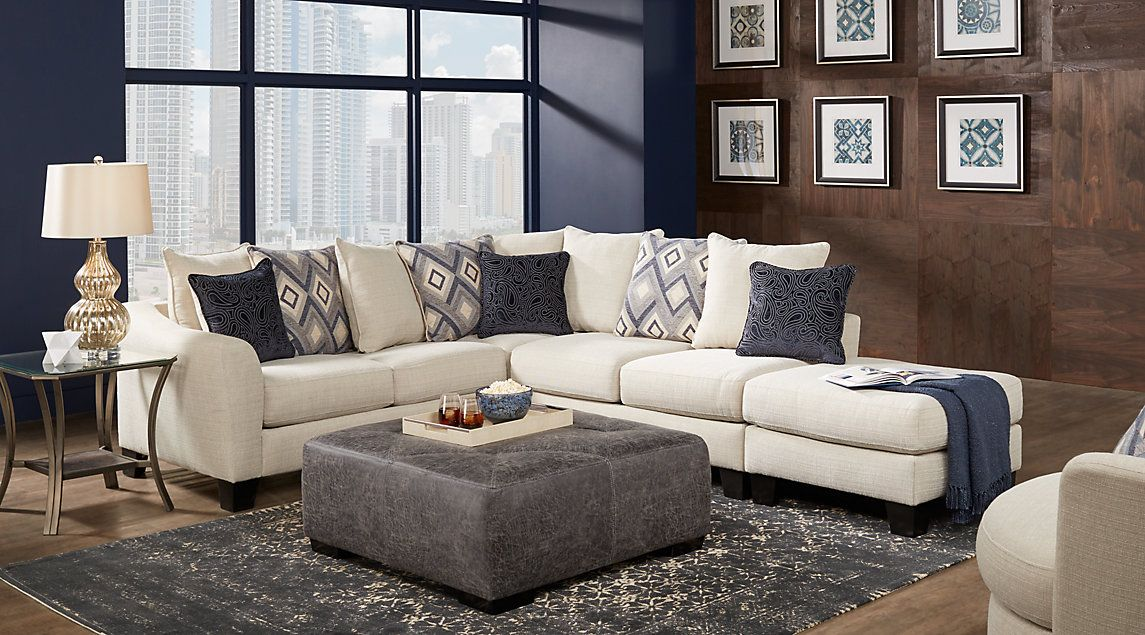 Deca Drive Cream 4 Pc Sectional Living Room | Living room ...