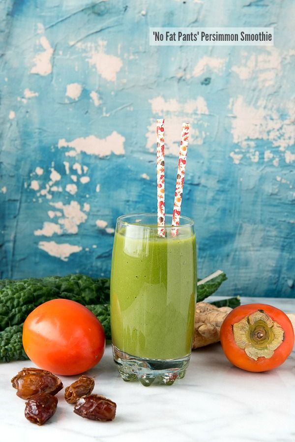 'No Fat Pants' Persimmon Smoothi. Thick and creamy, brimming tropical fruits, ginger, persimmon and natural sweetness without juice or added sweeteners. Great to stave of sugar cravings! - BoulderLocavore.com