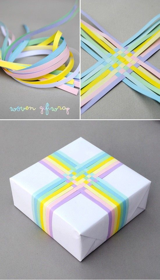 What a pretty way to wrap a gift woven gift wrap pastel pastel diy diy ideas diy crafts do it yourself crafty gift wrap diy pictures solutioingenieria Image collections