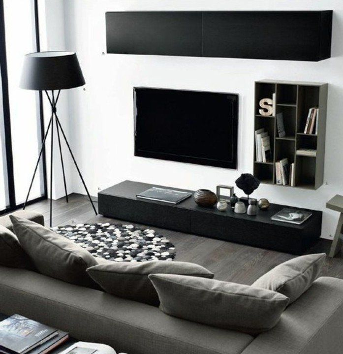 salon en noir, blanc et gris, idee deco salon aux lignes épurées