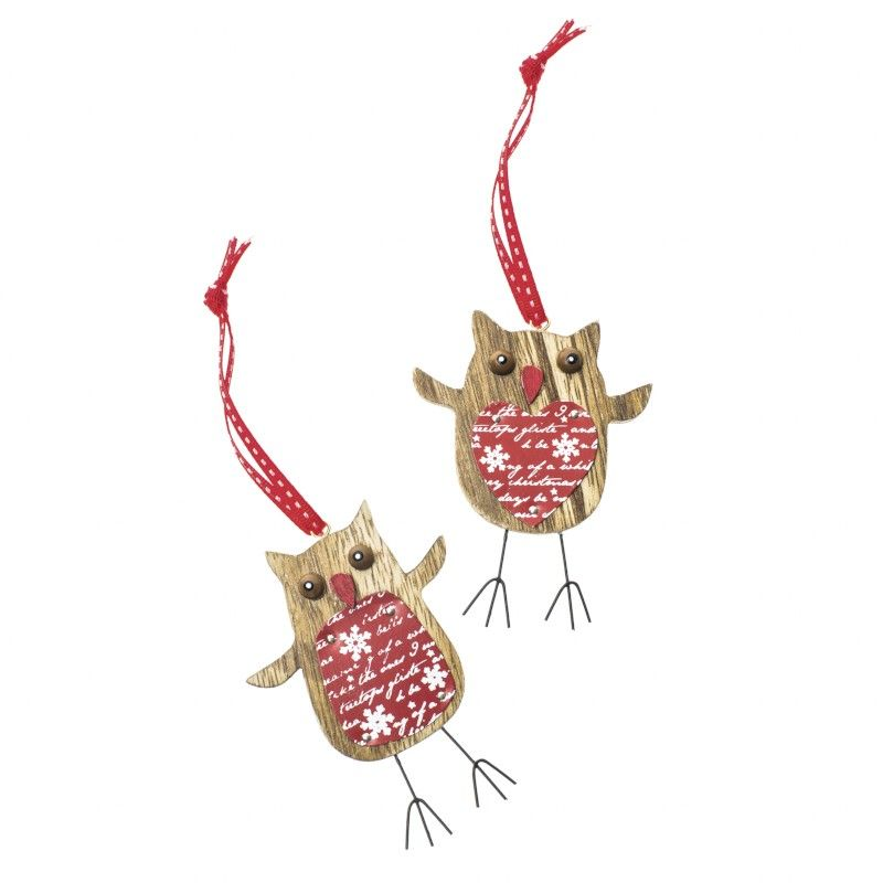 Hanging Wooden Red Heart Owl | Wood christmas decorations ...