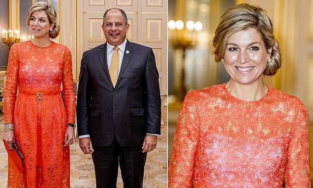 ♥•✿•QueenMaxima•✿•♥...Queen Maxima wears coral to welcome the President of Costa Rica