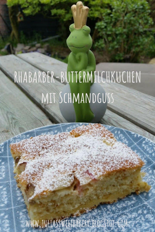 Rhabarber-Buttermilchkuchen mit Schmandguss