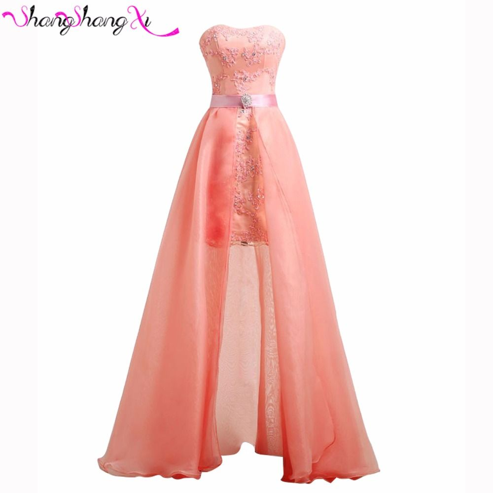 Coral Lace Prom Dresses 2016 Removable skirt Strapless 2 in 1 ...