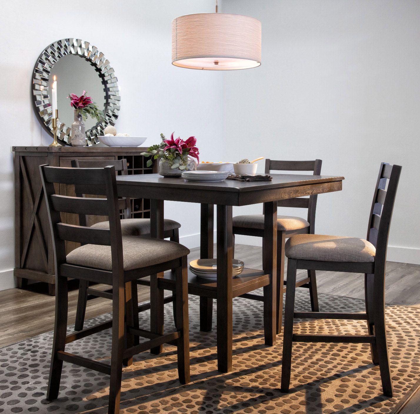 Jameson Grey 5 Piece Counter Set Dining Room Decor Elegant