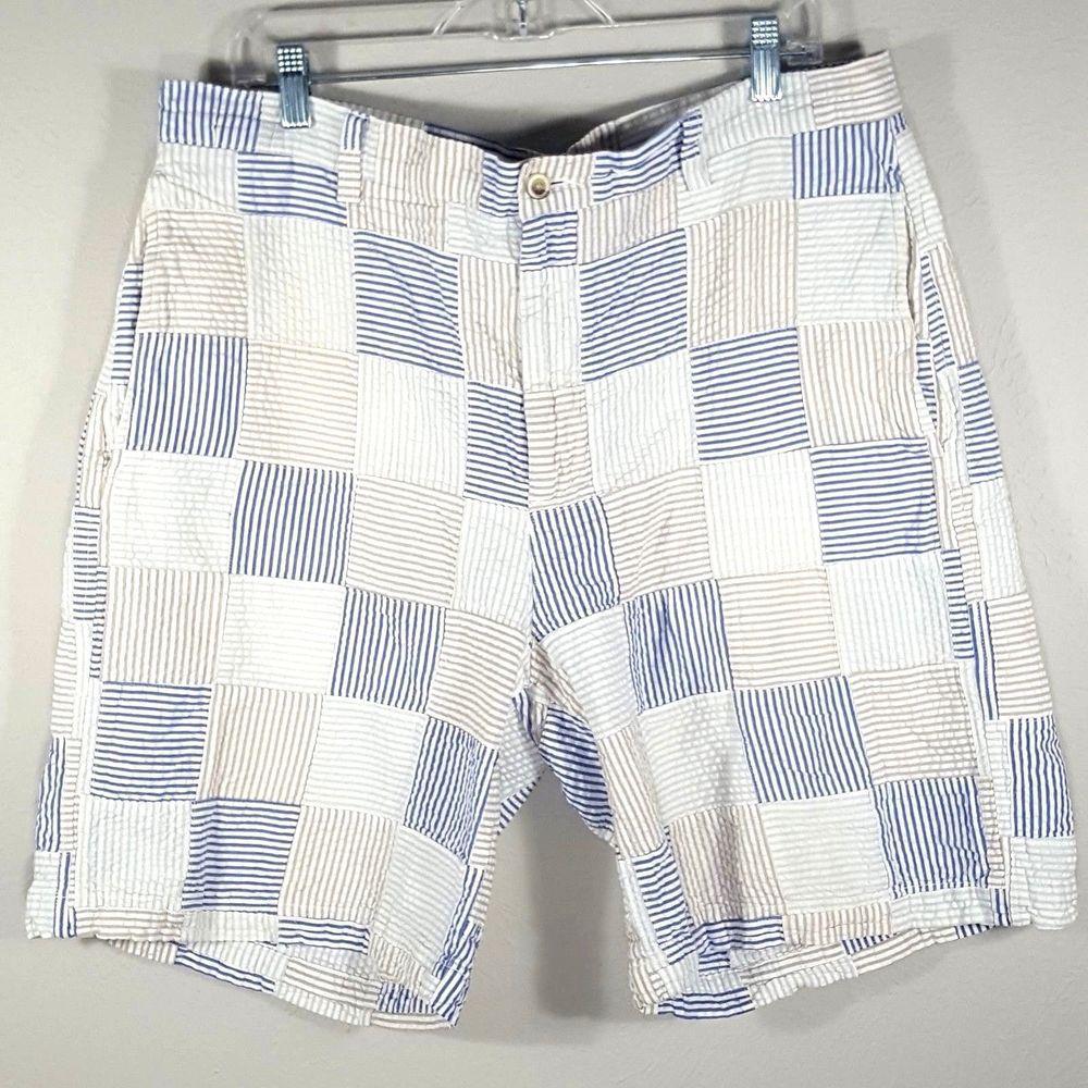 Mens T Harris London Blue Tan Green Patchwork Seersucker Shorts