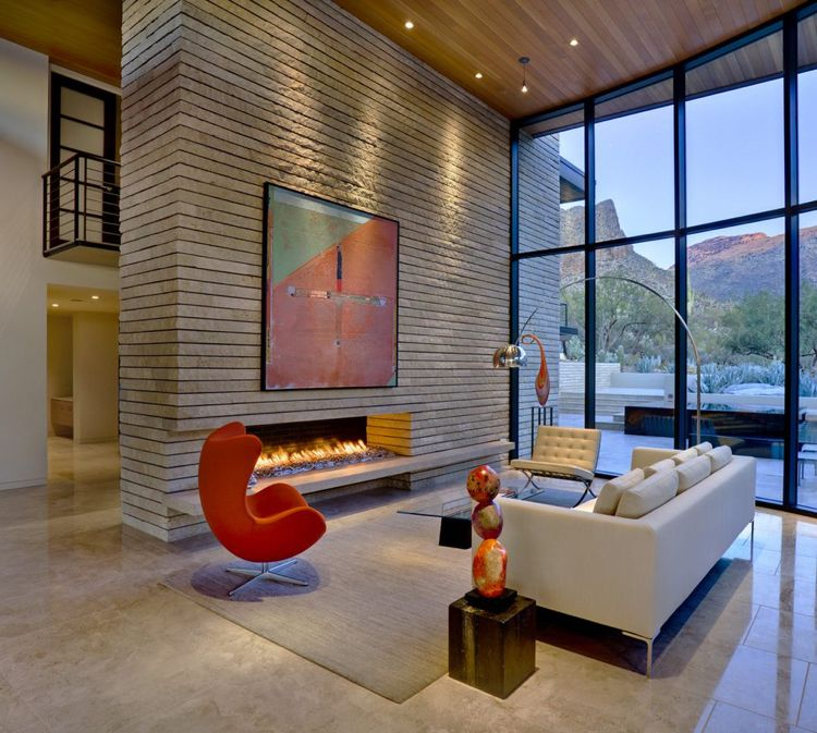 bilder-wohnzimmer-hohe-decke-kamin-modern-mid-century Wohnideen - wohnzimmer modern kamin