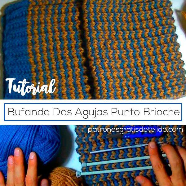 tutorial en video para tejer bufanda de dos agujas | Punto ...
