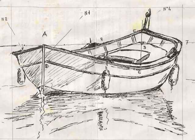 Dessin et peinture vid o 758 dessiner une barque et le - Dessiner une ancre marine ...