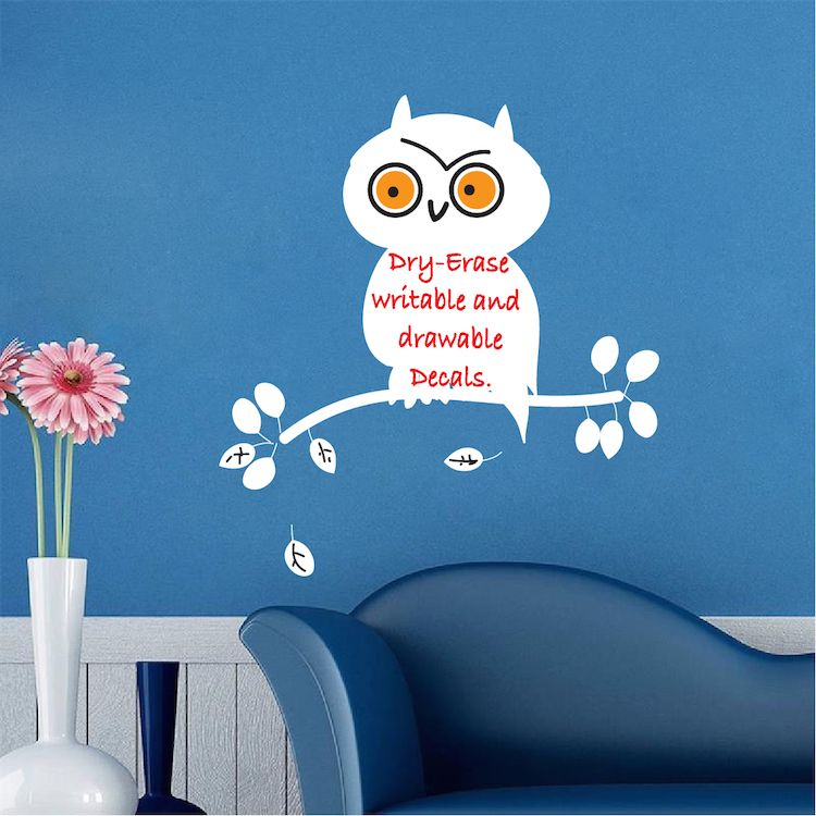 Dry Erase Owl Wall Decal - Dry Erase Wall Decal Murals - Primedecals & Dry Erase Owl Wall Decal - Dry Erase Wall Decal Murals - Primedecals ...