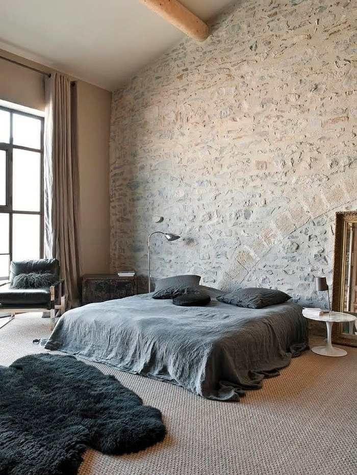 Explore Modern Rustic Homes, Stone Walls, And More! Das Rustikale Im  Vordergrund Im Schlafzimmer